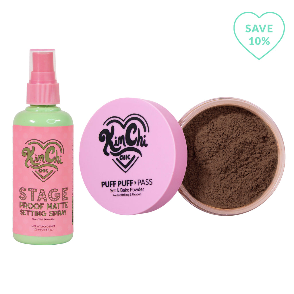 Stage Proof Matte Setting Spray with Puff Puff Pass chocolate