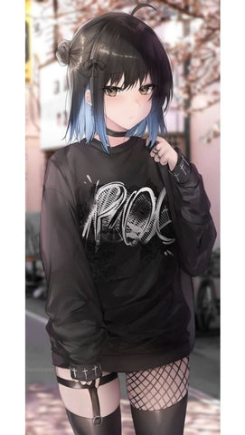 goth anime girl with casual goth style