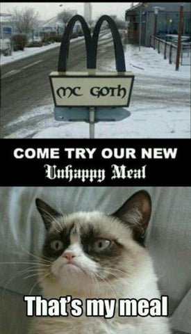 unhappy meal goth cats meme