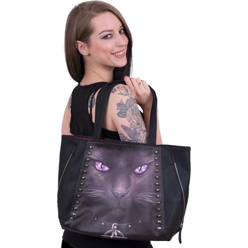 womens black goth cat tote bag