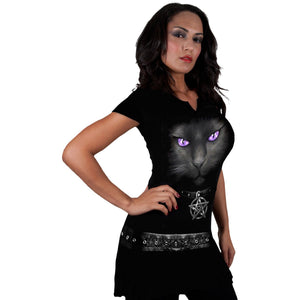 women's black mini dress with gothic cat design