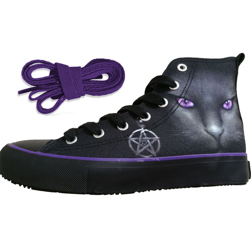 women's high top sneakers shoes with a black goth cat design