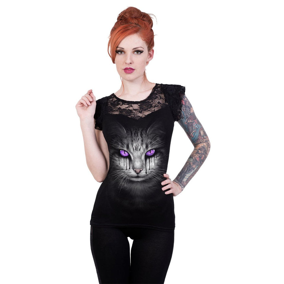 goth cat with black tears lace top for women
