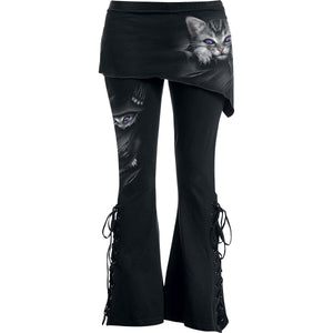 goth cat black jeans for women