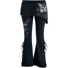 gothic cat boot cut jeans for women