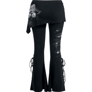 women's boot cut black goth cat bottoms