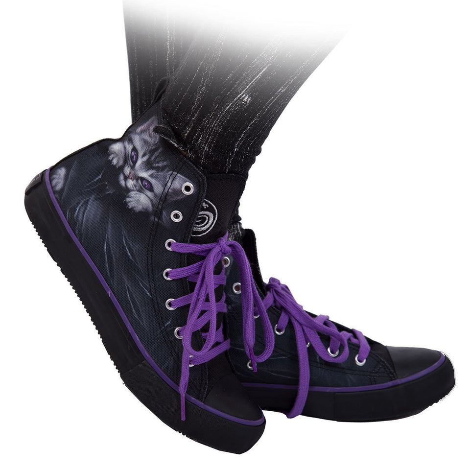 women's high top shoes with goth cat design