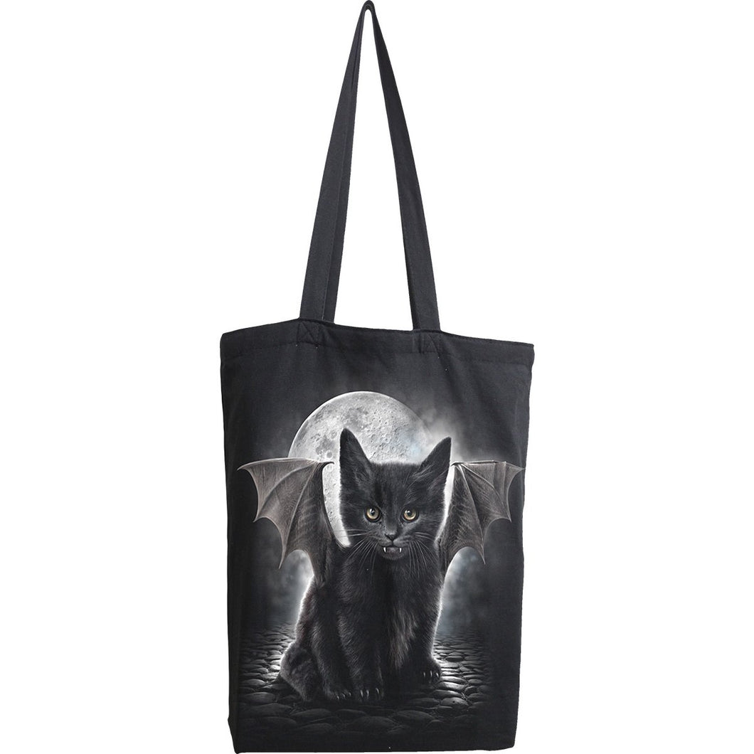 gothic vampire kitten black tote bag