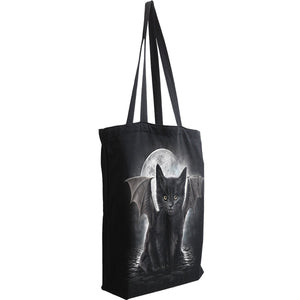 goth cat tote bag for women