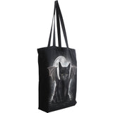 goth cat black moon tote bag for women