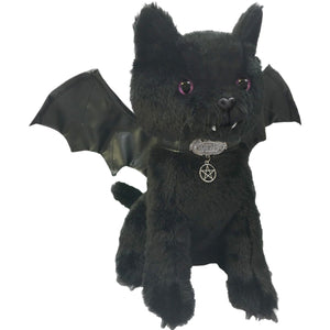 cute vampire bat goth cat plush toy with pentagram collar