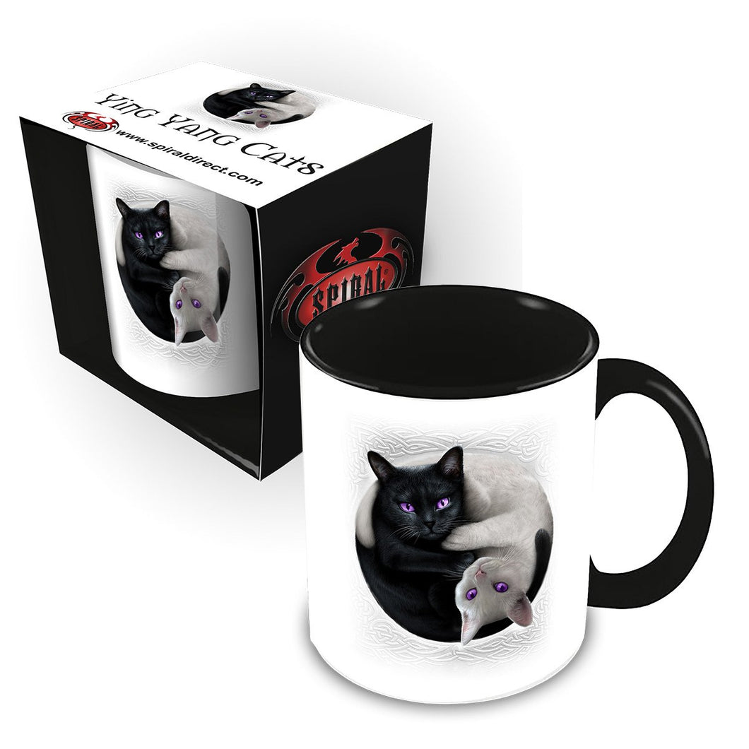 ying yang goth cat ceramic mug