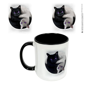 gothic ceramic cup with yin yang cats design