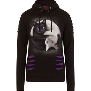 yin yang goth cat hoodie for alternative women's fashion