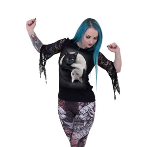 women's black lace top with yin yang goth cat design