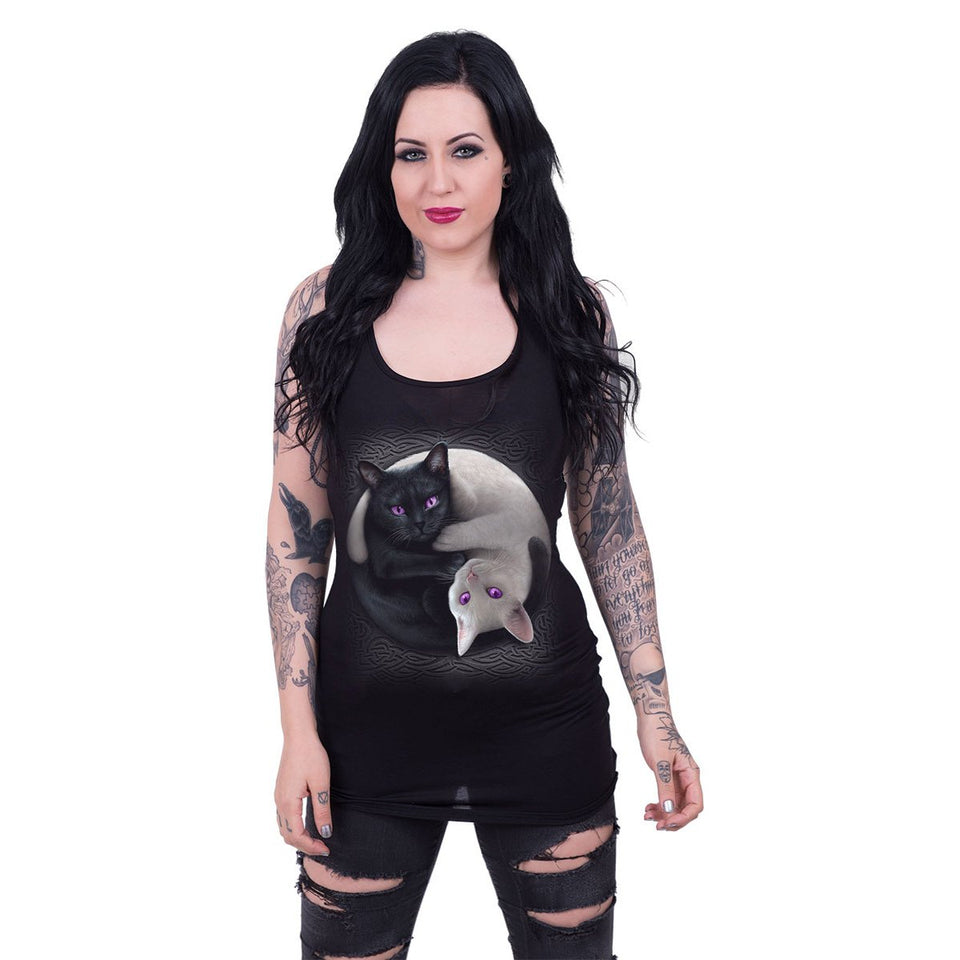 women's black sleeveless top with gothic cat design