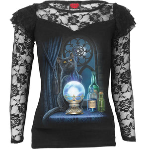 black goth cat with crystal ball women's lace top
