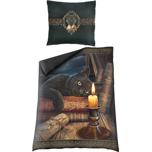 goth cat bedspread and pillow with design by Lisa Parker
