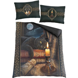 goth cat double comforter set with pillows designed by Lisa Parker