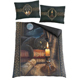 goth cat bedspread and pillows designed by Lisa Parker