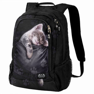 black backpack with pocket cat design