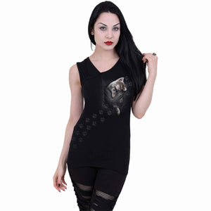 adorable pocket kitten black vest for women