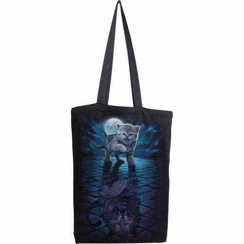 black tote bag with kitten tiger reflection design