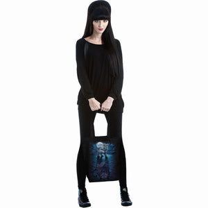 gothic woman holding black tote back with kitten tiger reflection design
