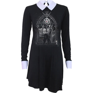 goth cat black baby doll witches dress with pentagram