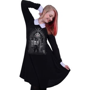 women's goth cat black witches dress with pentagram