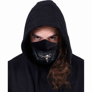 unisex goth style face mask with zipper and black skull