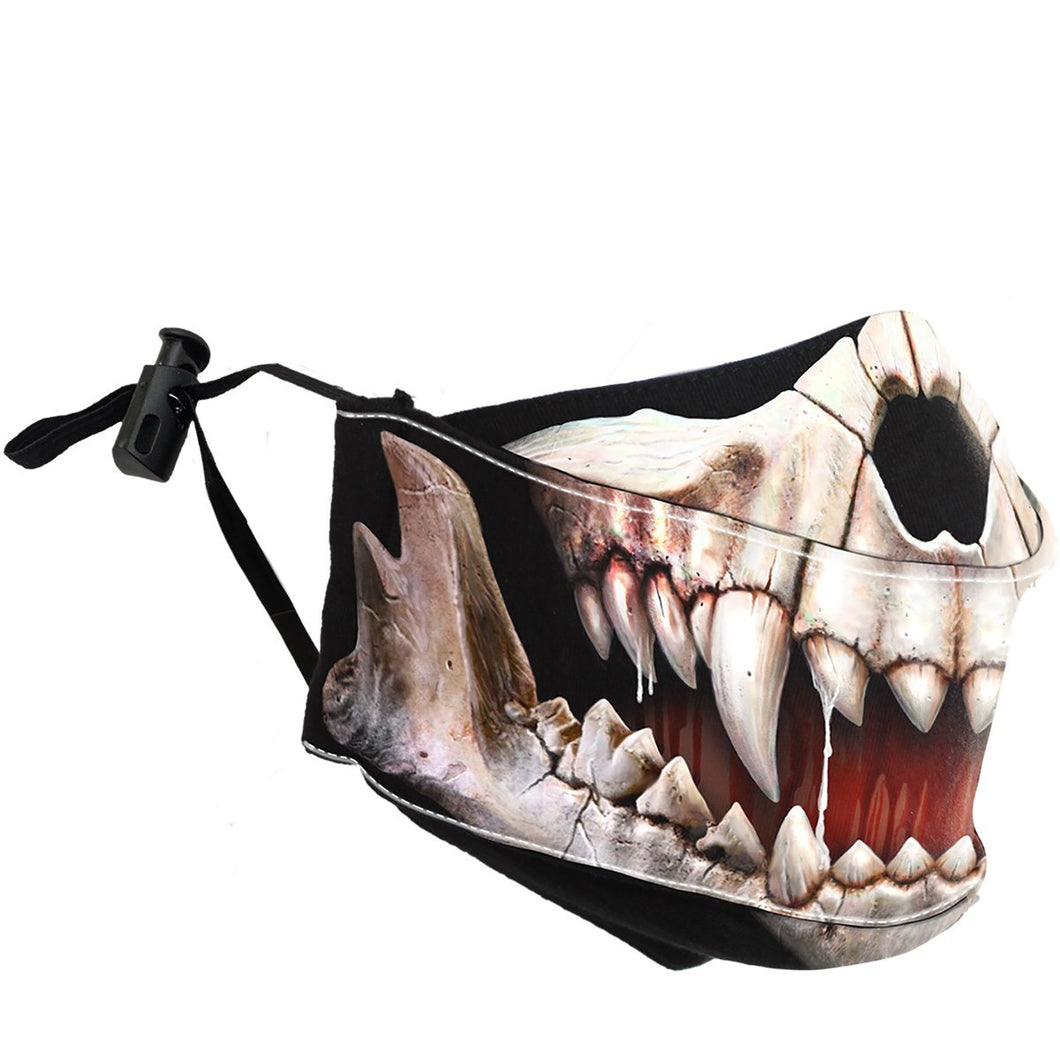 dog skull unisex gothic face mask