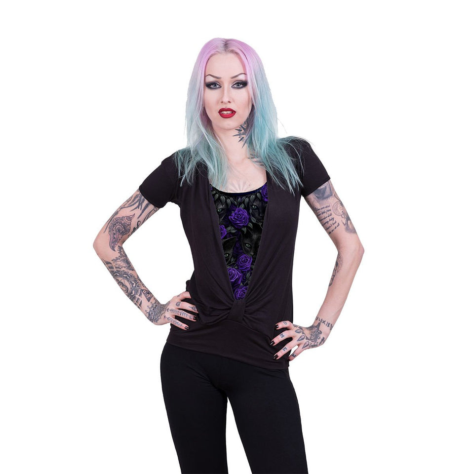 women's gothic cat t shirt with purple rose design