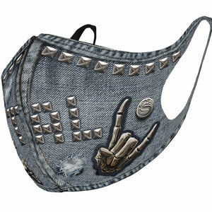 punk rock death metal mock denim protective face mask