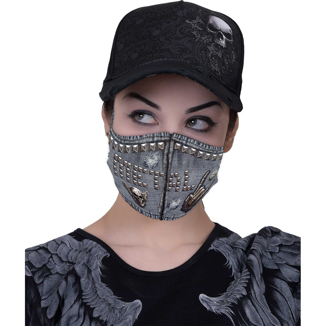 mock denim unisex gothic face mask