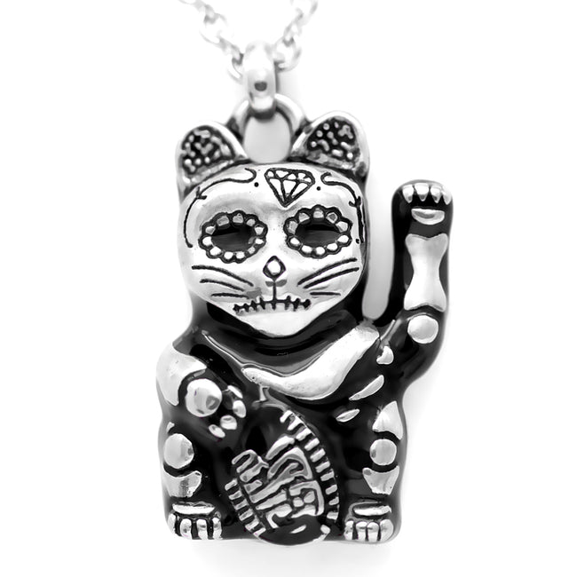 maneki neko cat necklace with day of the dead features