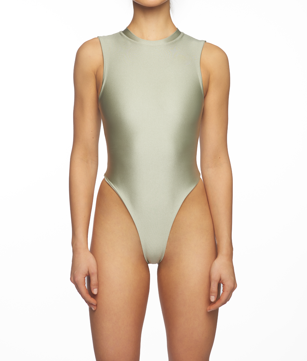 Titanium, Sleeveless Bodysuit - Light Silver