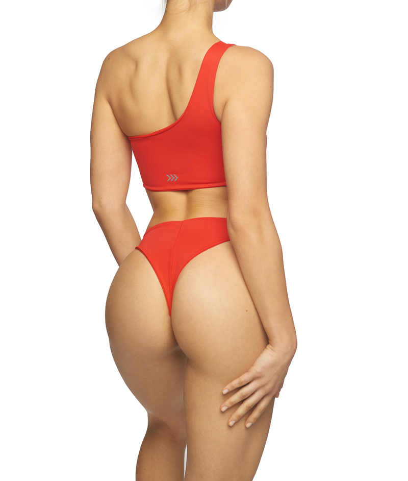 Sun-Kissed, One Shoulder Bikini - Red