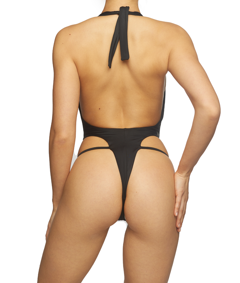 Venus, V-Plunge Tie Up One-Piece -Black