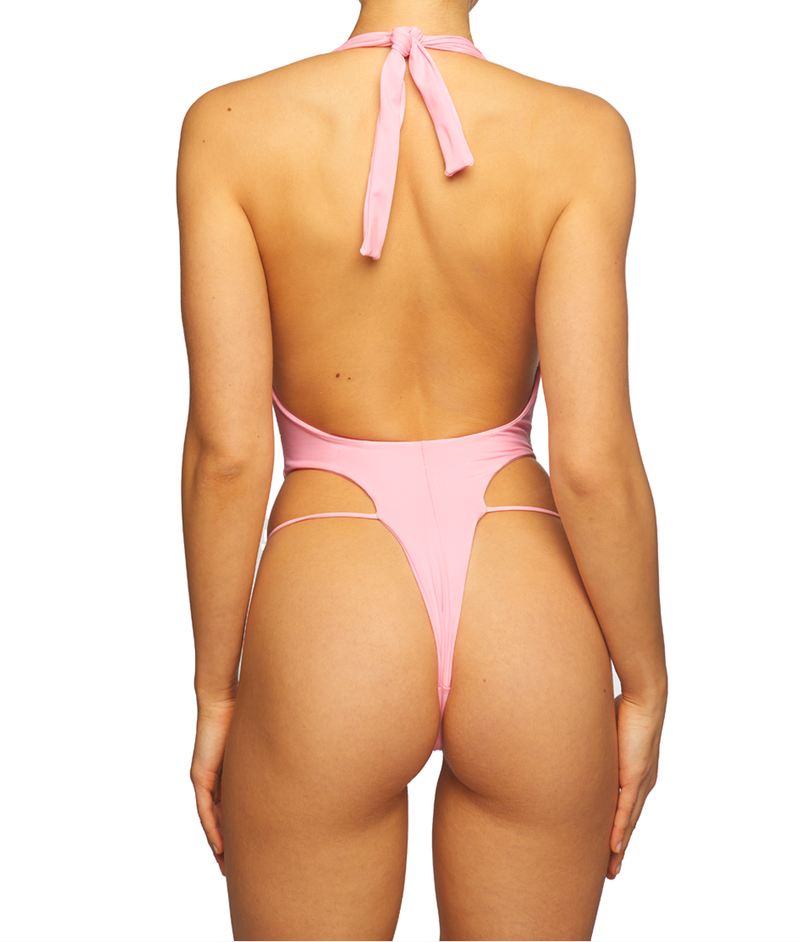 Venus, V-Plunge Tie Up One-Piece - Bubble Gum Pink