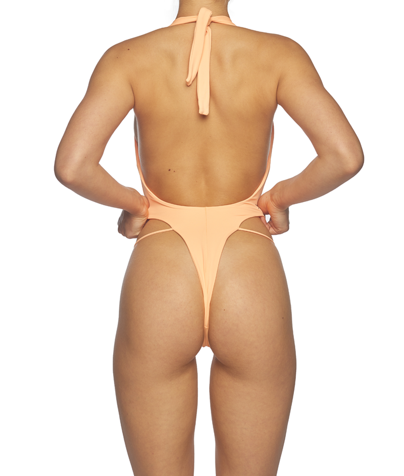 Venus, V-Plunge Tie Up One-Piece - Peach