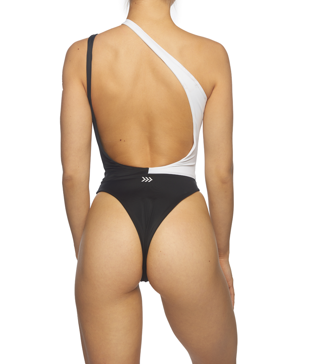 Twilight, Asymetrical Two Toned One-Piece - Black & White