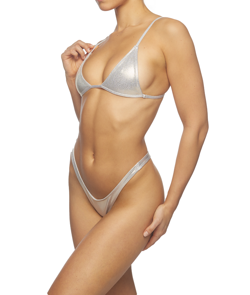 Galaxy, Metallic Triangle Top & Thong Set - Gold
