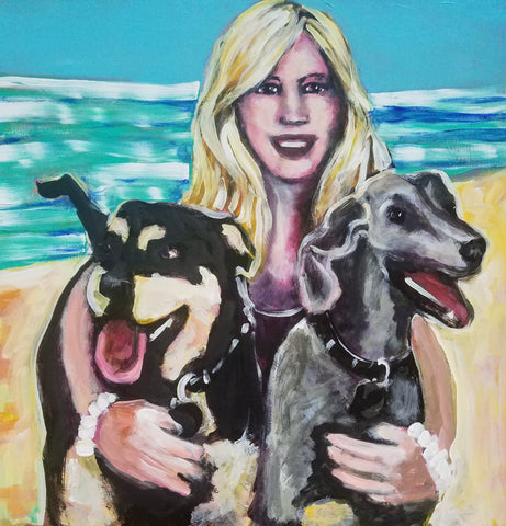 woman and her two dogs painting