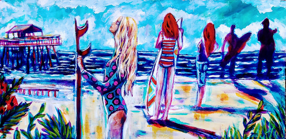 Surfer Girl Painting by Kimberly Dawn
