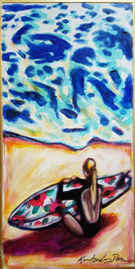 painting of surfer girl waiting for the perfect wave