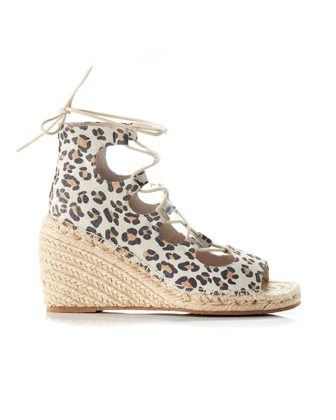 Vine Leather Wedge - Leopard