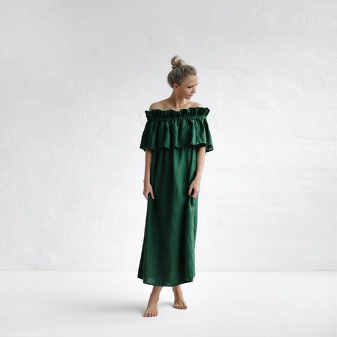 Off-Shoulder linen dress - green