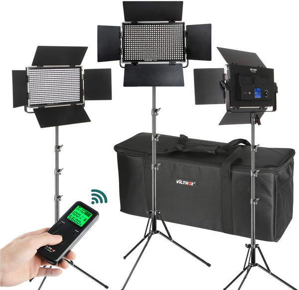 (3 Pack) VILTROX VL-40T Video LED Light 40W Studio Bi-Color + 3pcs Light Stand