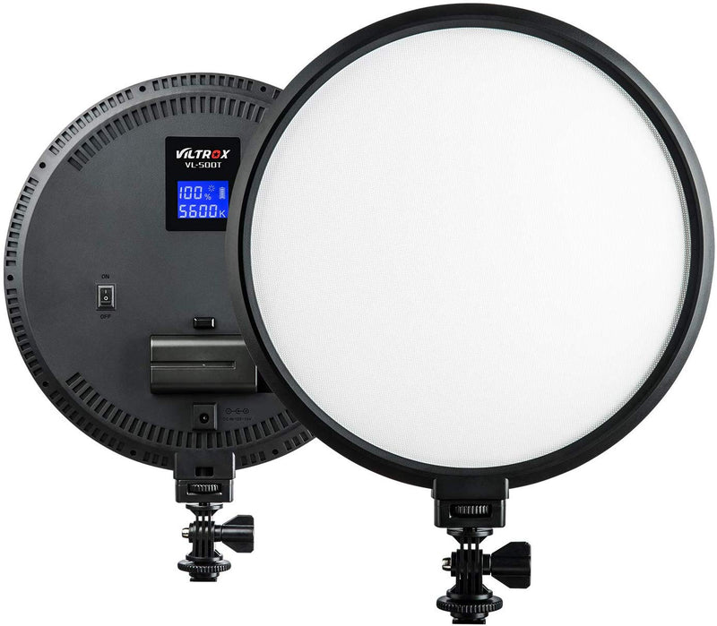 VILTROX VL-500T 2000LM LED Bi-Color Studio Round Lighting,Ultra Thin Studio Edge Flapjack Light